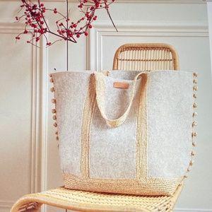 Vanessa Bruno felted Wool & Raffia Cabas Tote Bag